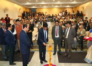 Lamp lighting ceremony by Shri V.K.Yadav, Chairman, Railway Board at NHSRCL's Fourth Foundation Day on 12.02.2020