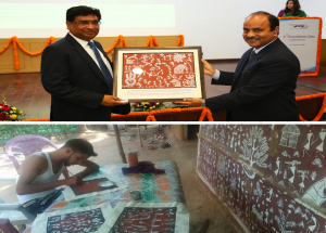 NHSRCL felicitated Shri V. K. Yadav, Chairman, Indian Railway Board, with Warli Painting created by one of the project affected people from Palghar district at 4th Foundation Day on 12th February 2020
