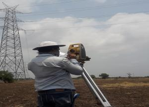 Vertical clearance measurement at GETCO 400kV Gpec Kasor Line at New Crossing in Bharuch district