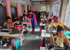 Thirty-three women from Chaklasi and Bhumel Village are being trained in tailoring under NHSRCL's IRP program in Kheda district (Gujarat)